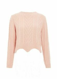 Womens *Quiz Round Neck Cropped Jumper- Pink, Pink