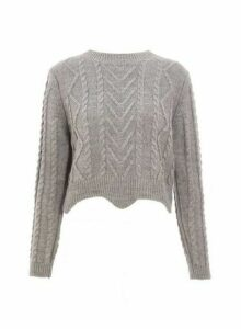 Womens *Quiz Grey Round Neck Cropped Jumper, Grey