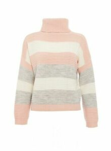 Womens *Quiz Pink Stripe Print Roll Neck Jumper, Pink