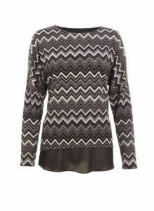 Womens Quiz Black And Grey Knit Chevron Print Top, Black
