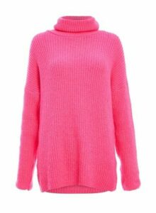Womens Quiz Fuchsia Pink Roll Neck Jumper, Pink