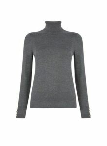 Womens Charcoal Button Cuff Roll Neck Jumper- Grey, Grey
