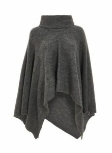 Womens *Quiz Polo Neck Knitted Poncho- Grey, Grey