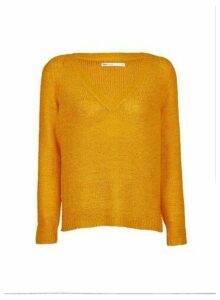 Womens **Only Yellow V-Neck Jumper, Yellow