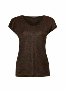 Womens **Only Gold Short Sleeve Top, Gold