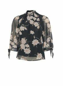 Womens Petite Black Floral High Neck Top, Black