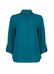 Womens Teal Roll Sleeve Shirt- Blue, Blue