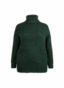 Womens **Dp Curve Green Boucle Roll Neck Jumper, Green