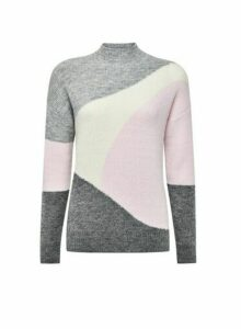 Womens Grey Colour Block Jumper, Grey
