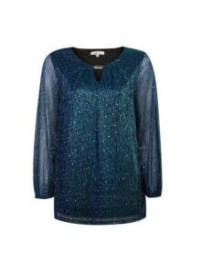 Womens **Billie & Blossom Tall Blue Plisse Glitter Trim Blouse, Blue