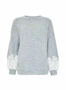 Womens Grey Lace Sleeve Jumper, Grey