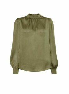 Womens Billie & Blossom Khaki Long Sleeve Satin Top, Khaki