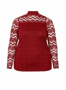 Womens **Dp Curve Red Zig Zag Lace Top, Red