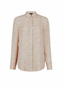 Womens Blush Spot Printed Long Line Shirt- Pink, Pink