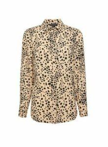 Womens Camel Spot Print Longline Shirt- Brown, Brown