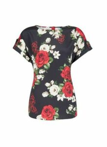 Womens Black Floral Printed T-Shirt, Black