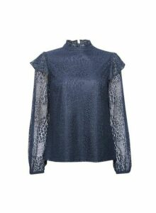 Womens Navy Lace Ruffle Long Sleeve Top- Blue, Blue