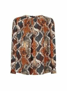 Womens Orange Snake Print Pleat Neck Detail Top, Orange