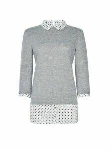 Womens Grey Spot Print 2In1 3/4 Sleeve Top, Grey