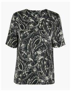 M&S Collection Satin Print Woven Blouse