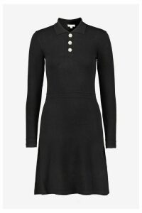 Womens Warehouse Black Embellished Button Dress -  Black