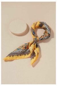 Floral-Print Silk Scarf - Gold