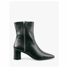 hush Iona Leather Zip Ankle Boots, Black