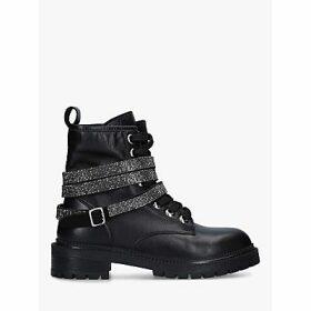 Carvela Tuxedo Leather Embellished Strap Biker Boots, Black