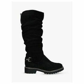 Carvela Comfort Vitality Buckle Detail Suede Knee High Boots, Black