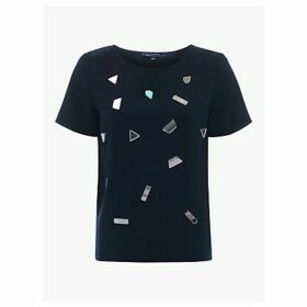 French Connection Elexis Crepe Mirror Top, Utility Blue