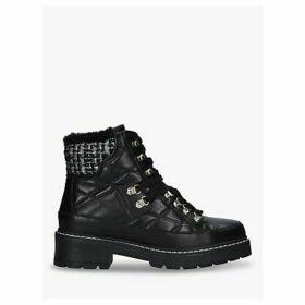 Kurt Geiger London Roman Embellished Leather Quilted Hiker Boots, Black
