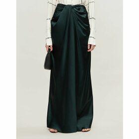 Knot-waist satin-crepe skirt