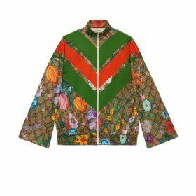 GG Flora print zip-up jacket