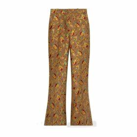GG ramage wool silk flare trousers