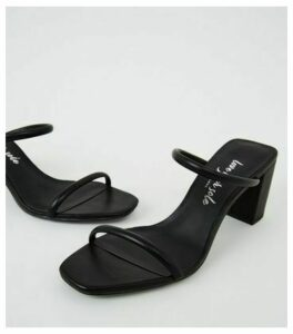 Black Leather-Look Double Strap Mules New Look