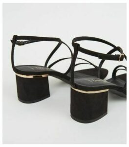 Wide Fit Black Suedette Flared Block Heels New Look Vegan