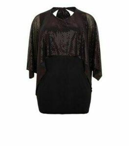 Just Curvy Black Sequin Mini Cape Dress New Look