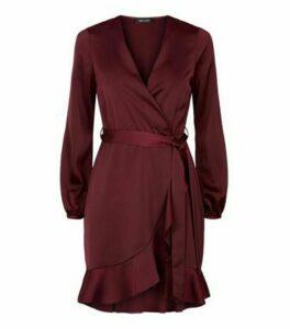 Burgundy Satin Ruffle Wrap Dress New Look