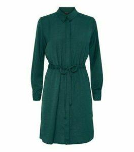 Dark Green Drawstring Waist Shirt Dress New Look