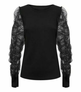 Cameo Rose Black Ruched Mesh Sleeve Top New Look