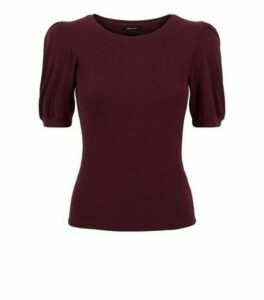 Burgundy Puff Sleeve Ribbed Knit T-Shirt New Look