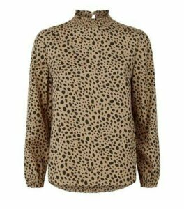 Petite Brown Leopard Print High Neck Top New Look