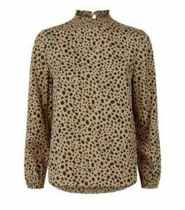 Petite Brown Leopard Print High Neck Top New Look
