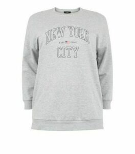 Curves Grey Marl Collegiate Slogan Sweatshirt New Look