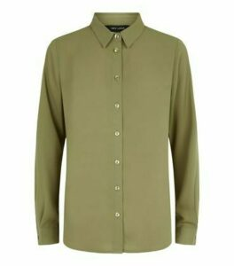 Khaki Chiffon Long Sleeve Shirt New Look