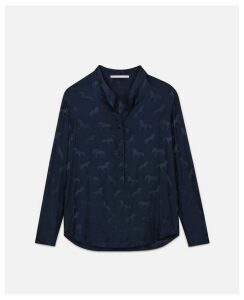Stella McCartney Blue Eva Horse Jacquard Shirt, Women's, Size 14