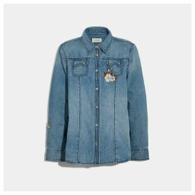 Coach Embellished Denim Shirt