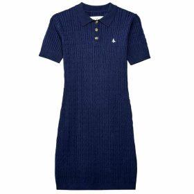 Jack Wills Moray Short Sleeve Polo Cable Dress - Navy