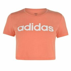 adidas D2M Cropped T Shirt Ladies - Coral