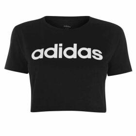 adidas D2M Cropped T Shirt Ladies - Black/White